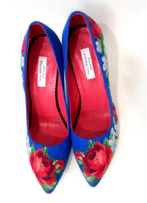 """Туфлі """"Ніжні троянди"""" сині"""