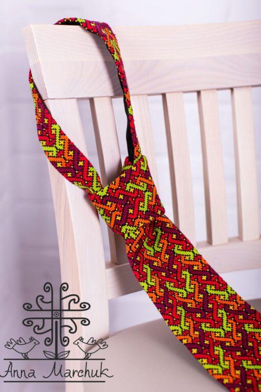 Краватка з гуцульською вишивкою В2