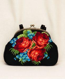 """Сумка """"Троянди і сині фіалки"""" з ручками"""