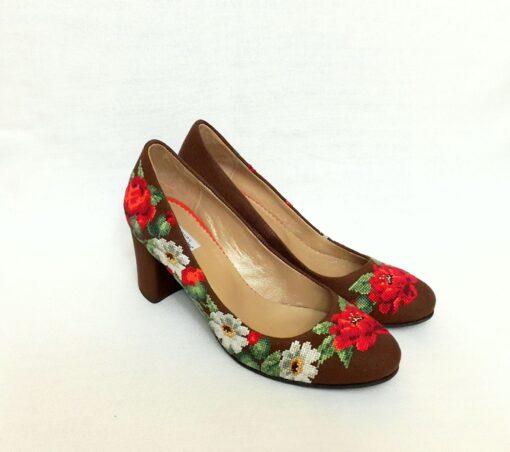 """Туфлі """"Маки і ромашки"""" коричневі"""