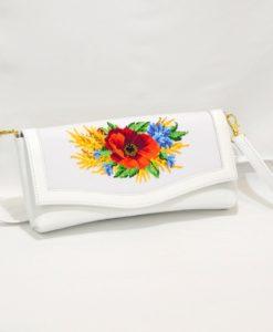 """Клатч """"Польові квіти"""" білий"""
